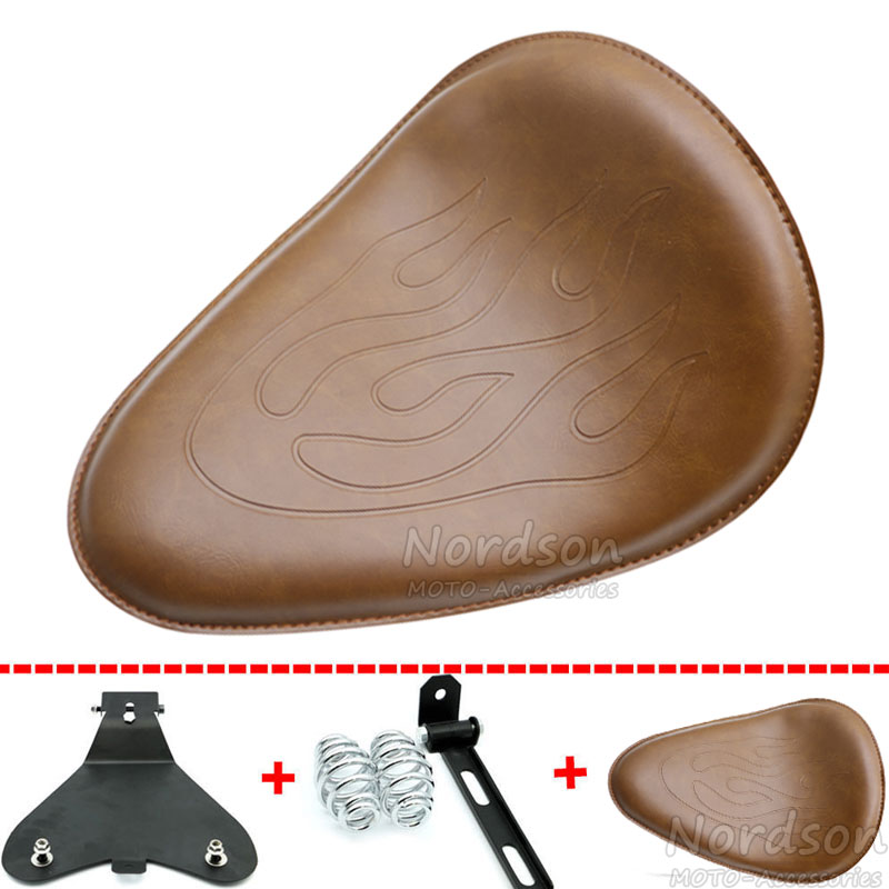 Flame Leather Motorcycle Brown Solo Seat &Sliver Round Spring & Bracket & Baseplate For Harley Honda Yamaha