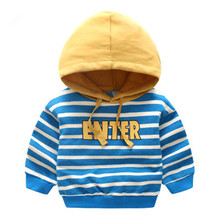 2018 new spring male baby striped sweater virgin kids children Hoodie wt-8661 letters