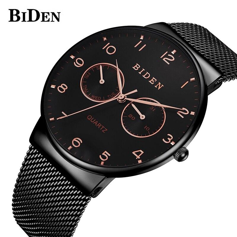 BIDEN Men Top Brand Luxury Men Watch Mesh Steel Clock Men Watches Relogio Masculino Horloges Mannen