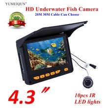 """Рыболокатор 20 м, 30 м, HD 1000TVL, камера для подводной подледной рыбалки, видео 4,"""" ЖК-дисплей, 8 шт., IR, угол 150 градусов, солнцезащитный козырек, рыболокатор"""