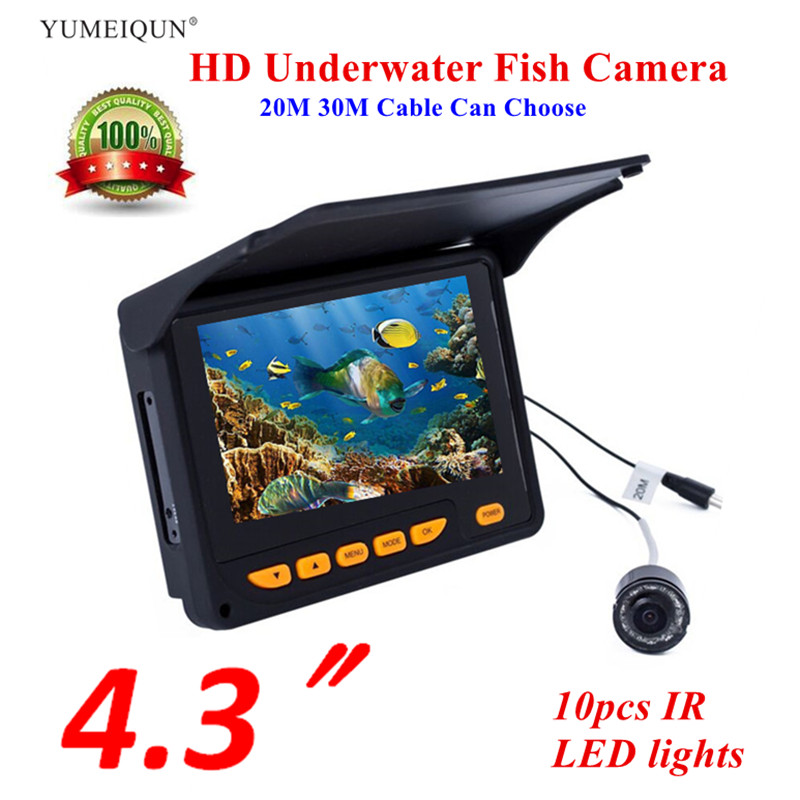 """Fish Finder 20M 30M HD 1000TVL Underwater Ice Fishing Fish Camera Video 4.3"""" LCD 8pcs IR  150 Degrees Angle Sunvisor Fishfinder-in Fish Finders from Sports & Entertainment    1"""