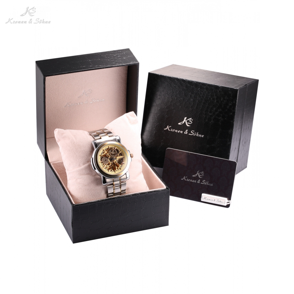 Luxury Leather Box KS Skeleton Watch Men Steampunk Automatic Full Steel Band Transparent Mechanical Movement Watches /KS137-139 jiqi intelligent bean sprouts maker household upgrade large capacity thermostat green seeds growing automatic sprout machine eu