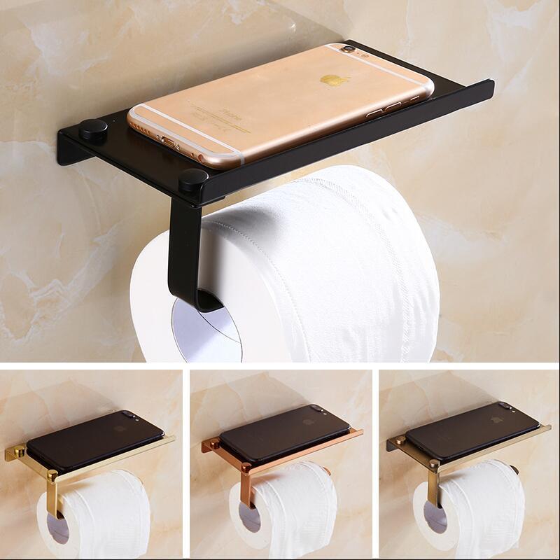 Stainless Steel Bathroom Paper Phone Holder With Shelf Bathroom Mobile Phones Gold Towel Rack Toilet Paper Holder Tissue Boxes