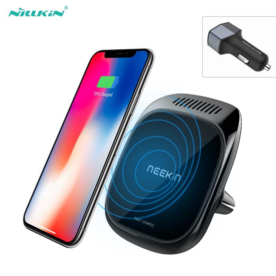 10 w Qi caricabatteria da auto senza fili Per il iphone X Per Samsung S9 auto aromaterapia Nillkin 3 in 1 Veicolo Magnetico supporto Del Supporto Del Telefono Pad