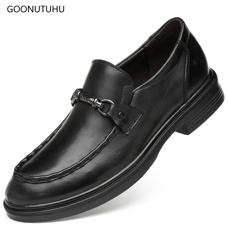 2019 fashion men 39 s dress shoes genuine leather cow classic black shoe man office formal shoes for men loafers slip on size 35 47 in Formal Shoes from Shoes
