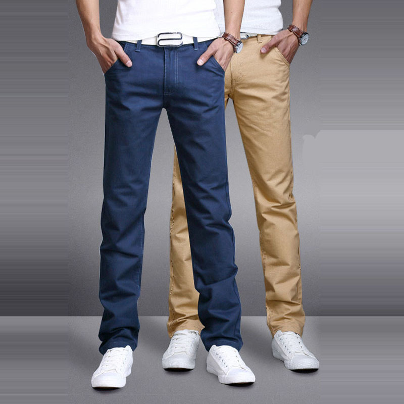 Casual Pants Men Cotton Trousers Fashion Pantalones Hombre Solid Business Mens Pant Brand New Slim Straight Pure Khaki Black Cargo Pants Aliexpress