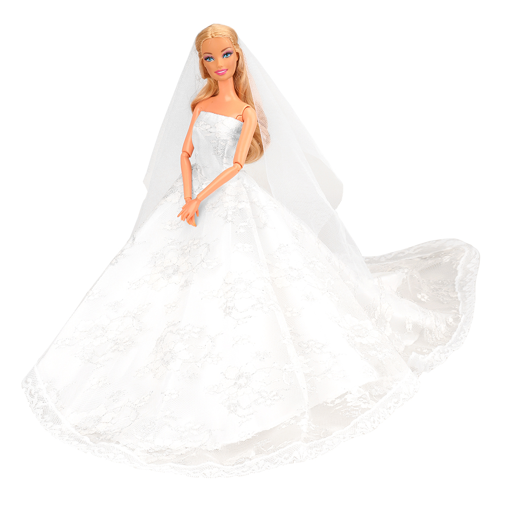 New Beautiful Handmade White Wedding Party Clothes Top Fashion Dress For Barbie Doll Accessories Child Girls 39 Gift present China in Dolls Accessories from Toys amp Hobbies