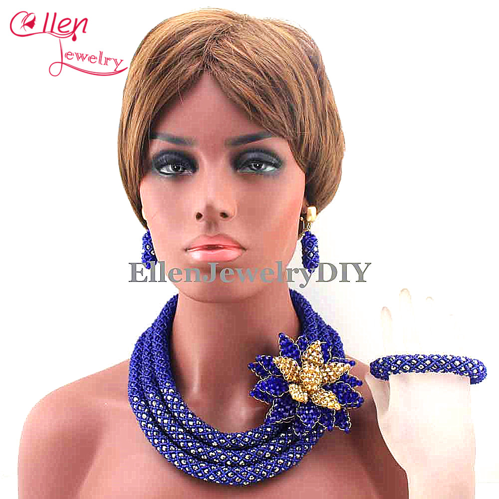 цена Latest Royal Blue Beauty Jewelry Set African Bride Crystal Floral Costume Necklace Set Flower Brooch Free Shipping E1012
