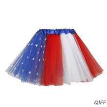 73892f0ea Kids American Flag Three Layers Tutu Skirt Pentagram Star July 4th Independence  Day Party Stage Dress Halloween Costume 2-14T