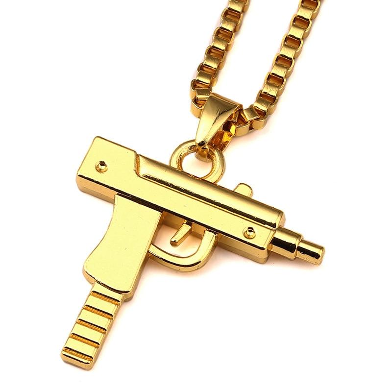 Pistol Machine Gun Pendant Necklace Jewelry Men Hip Hop Style Charm