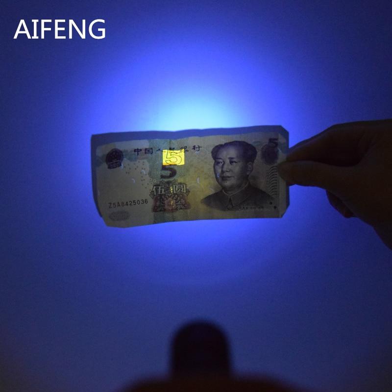AIFENG Professional 365nm UV flashlight LED aa battery For Marker Checker Detection uv 365nm touch Voilet Purple UV light lamp