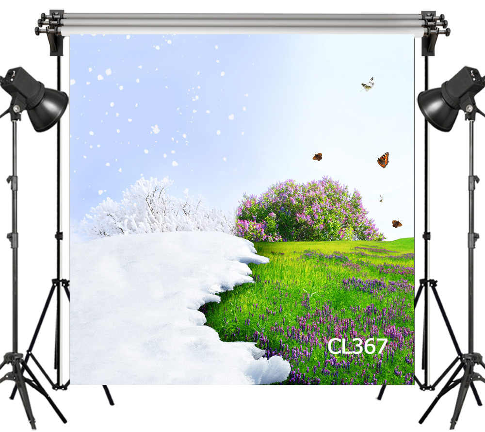 ปอนด์ไวนิลภาพพื้นหลังฤดูหนาวหิมะและดอกไม้ฤดูใบไม้ผลิผีเสื้อตกแต่งฉากหลังมรูปถ่ายที่กำหนดเอง