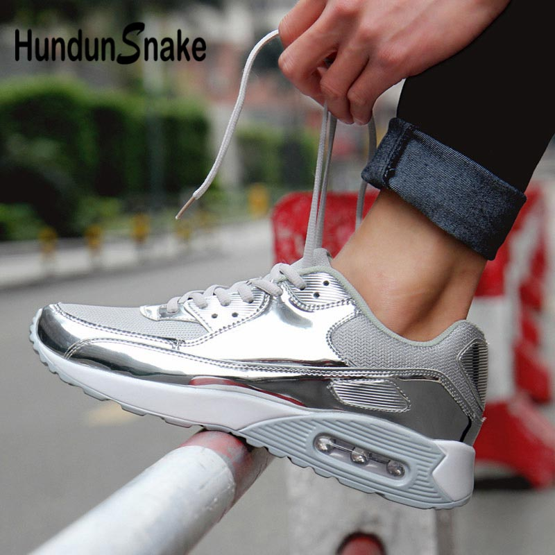 Hundunsnake Summer Male Shoes Sports Big Size Sneakers Men Women Air Cushion Krassovki Men Mesh Chaussure Homme 2018 Silver G-25