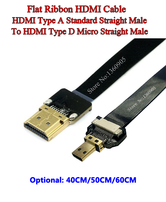 40/50/60CM HDMI Flat Soft Flex Cable Standard Straight Male To HDMI Micro Straight Male, Flat Shielded Ribbon Cable FPV