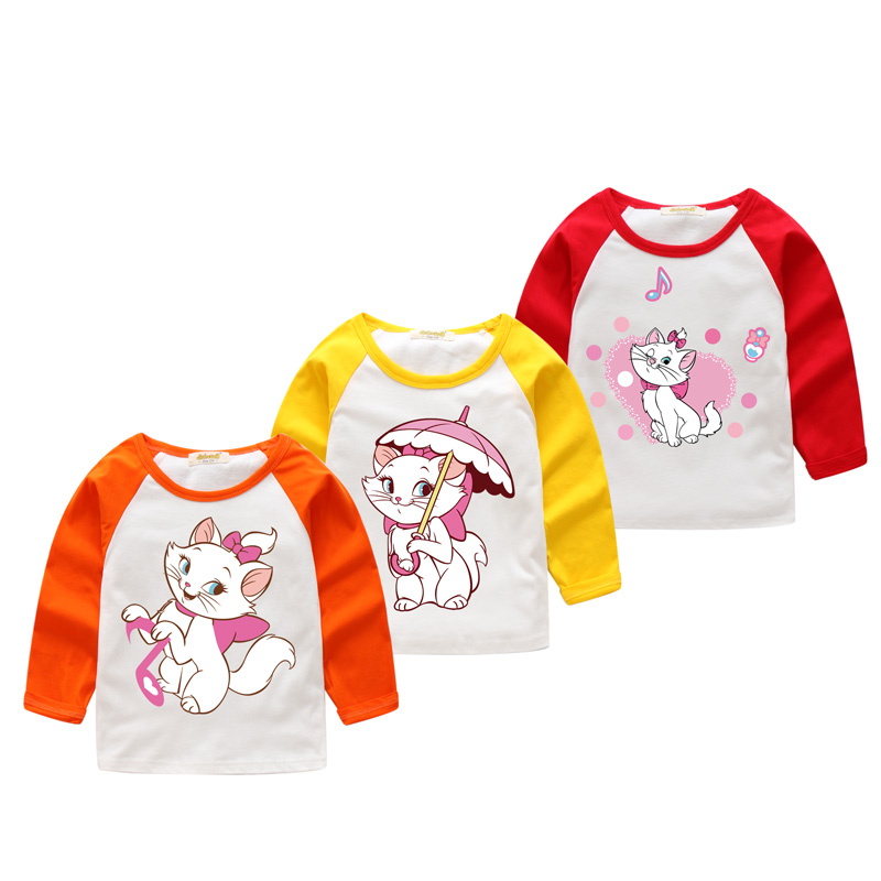 2018 Girls Red Patchwork Long Sleeve T-shirts Clothes Children Spring 8 Colors O-Neck Tee Tops Clothing Baby Cotton Tshirt CX020
