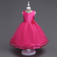 girl dress sleeveless baby clothes Stage performance Wedding presiding Birthday party Longuette Pure color Flower