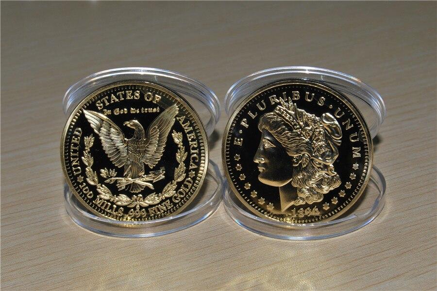 1896 Gold Plated Morgan Dollar Souvenir Coin (15)