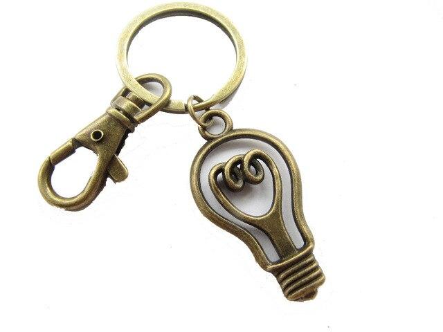 2pcs Whole Light Bulb Keychain Bright Idea Lightbulb Science With Swivel Clasp
