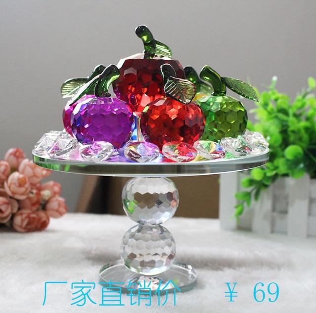 The red crystal fruit plate decoration window lattice simulation room table crystal apple decorative gift ornaments & The red crystal fruit plate decoration window lattice simulation ...