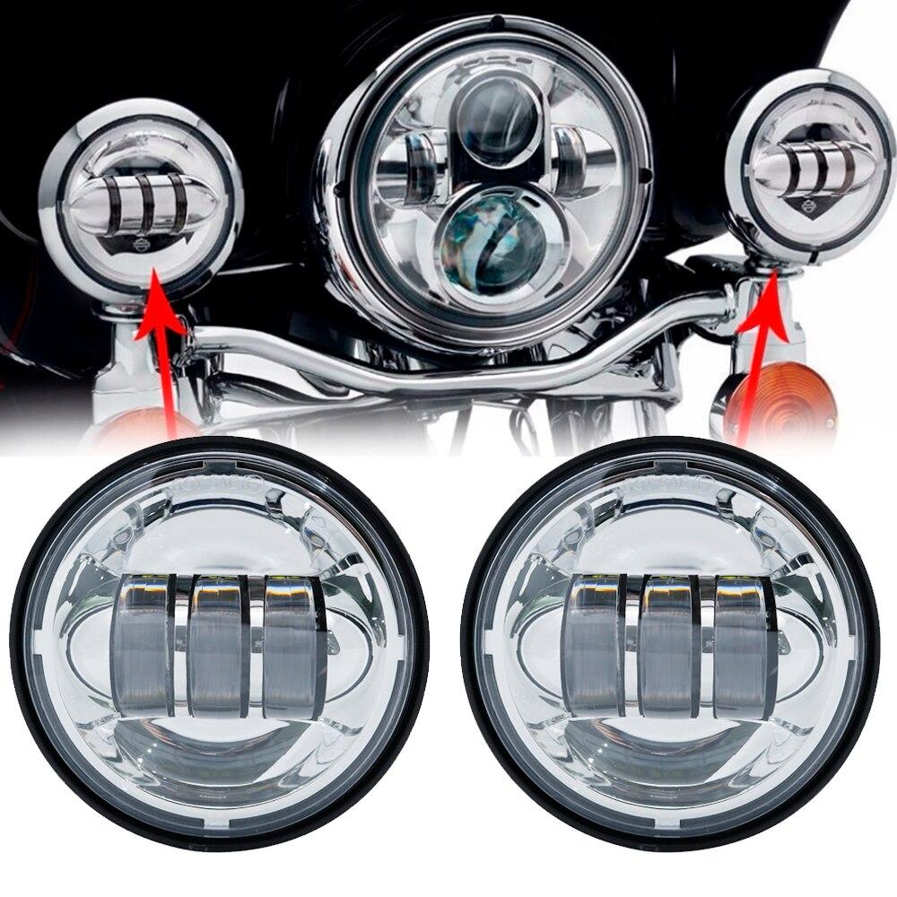 2 pcs Chrome/Noir 4.5 pouce LED Lumière Passant Spot Conduite Lampe LED Brouillard Lumières pour Harley Touring Electra glide Daymaker Lampes