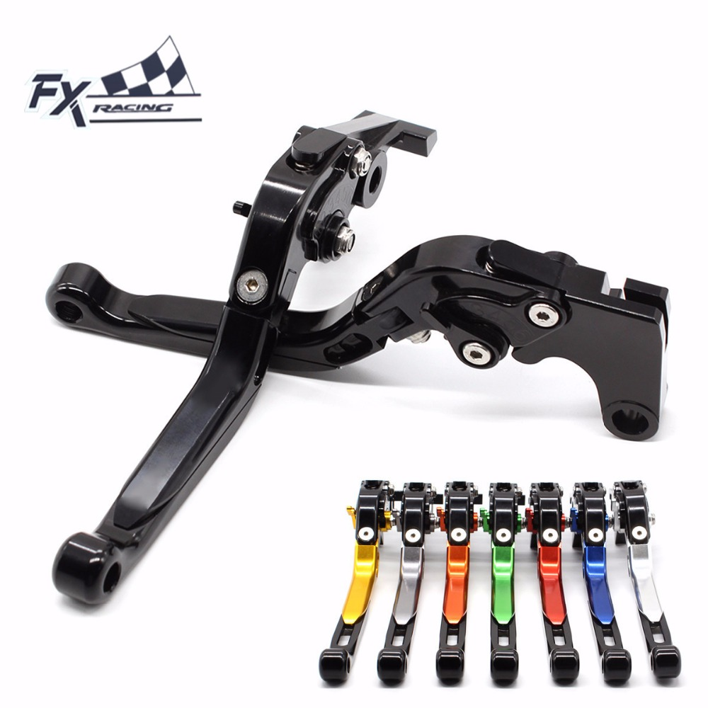 FX CNC Motorcycles Folding Extendable Brake Clutch Levers Aluminum Adjustable Fit For Kawasaki KLR650 1987 - 2007 Motorbike gt motor f 16 dc 80 adjustable cnc 3d extendable folding brake clutch levers for moto guzzi breva 1100 norge 1200 gt8v