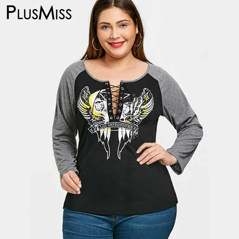 04049ab071d07 PlusMiss Plus Size 5XL Sexy Lace Up Print T-shirt Women Clothing Long  Sleeve Loose