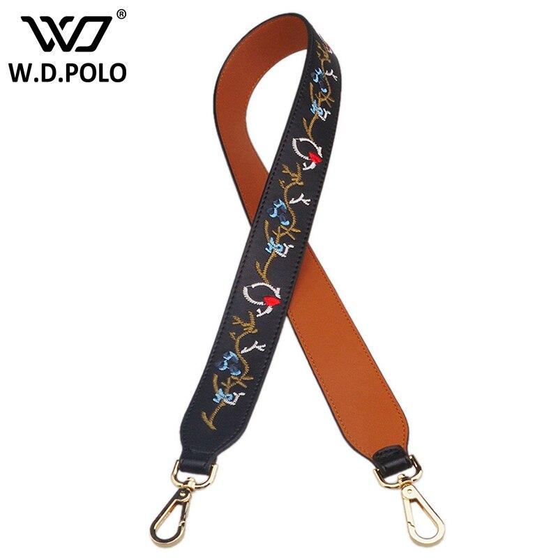 WDPOLO New Vintage Emboridery Women Shoulder Strap Leather Handbag Accessories Fiber Leather Wide Straps For Bags Beltz2114
