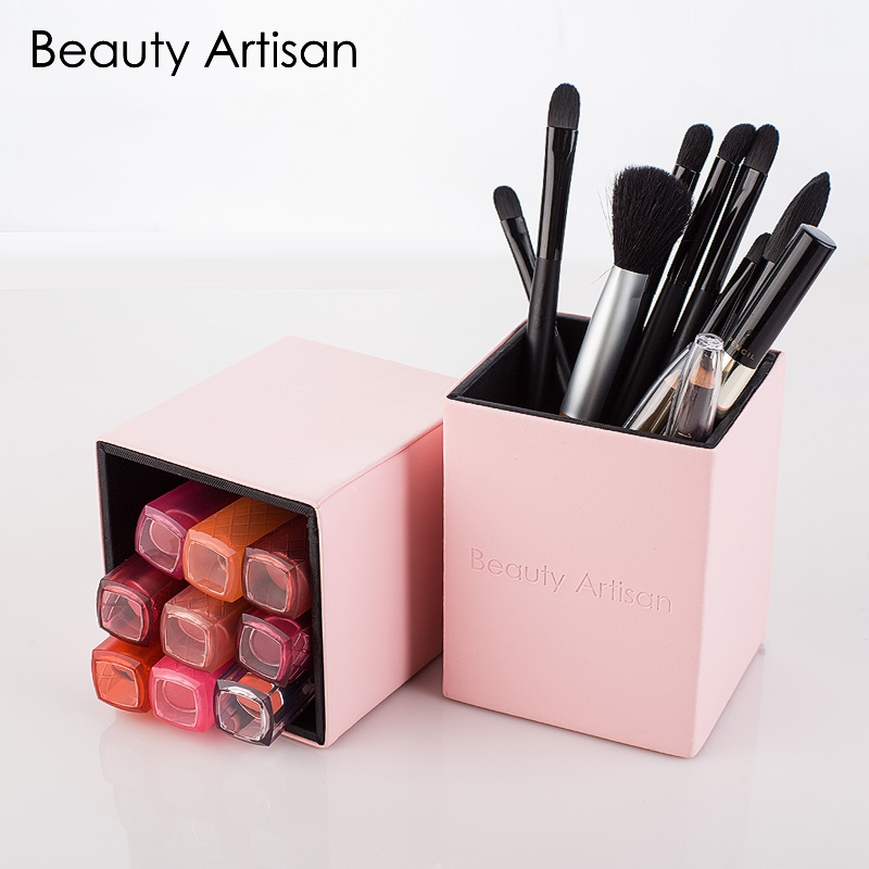 Makeup Brushes Holder Magnetic Empty Portable Make Up Brushes Case Brush Organizer Cosmetic Tool PU Leather Quadrate Container maange dropship leather cosmetic case portable storage makeup bags organizer brush holder cup pu material anne