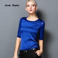 1pcs Ladies Plus Size Blouses Tops 2018 Summer Fashion Real Silk Mesh Mosaic Primer Shirt Women