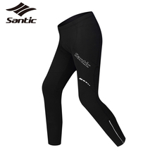 Santic Cycling Pants Men's Thermal Fleece Winter Bike Pants 4D Padded Windproof Breathable Bicycle Trousers Reflective Tights