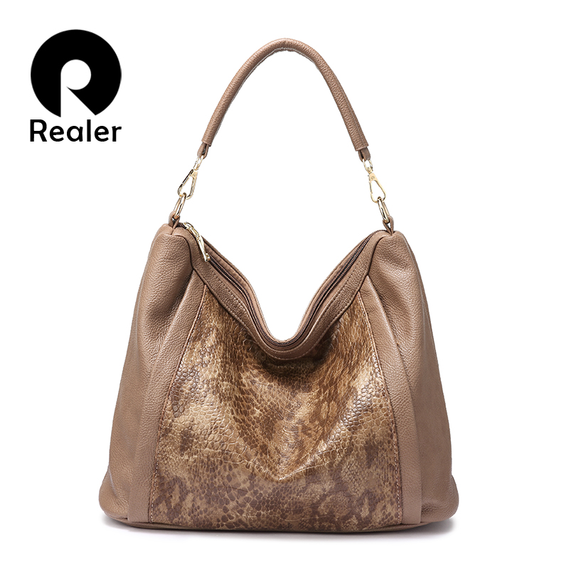 REALER Handbags Women High Quality Shoulder Bags Soft Artificial Leather Large Tote Bags Wide Strap Ladies Hobo Serpentine Print