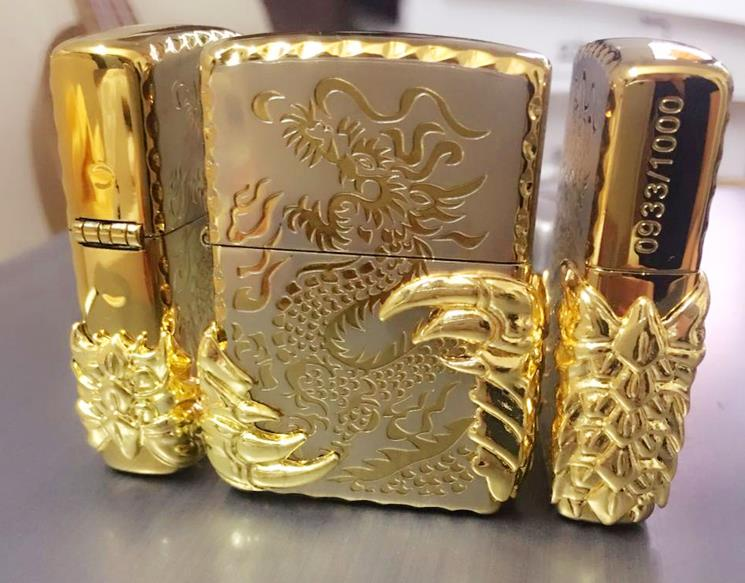 Freies Verschiffen windundurchlässige Feuerzeuge zwei goldene - Haushaltswaren - Foto 2