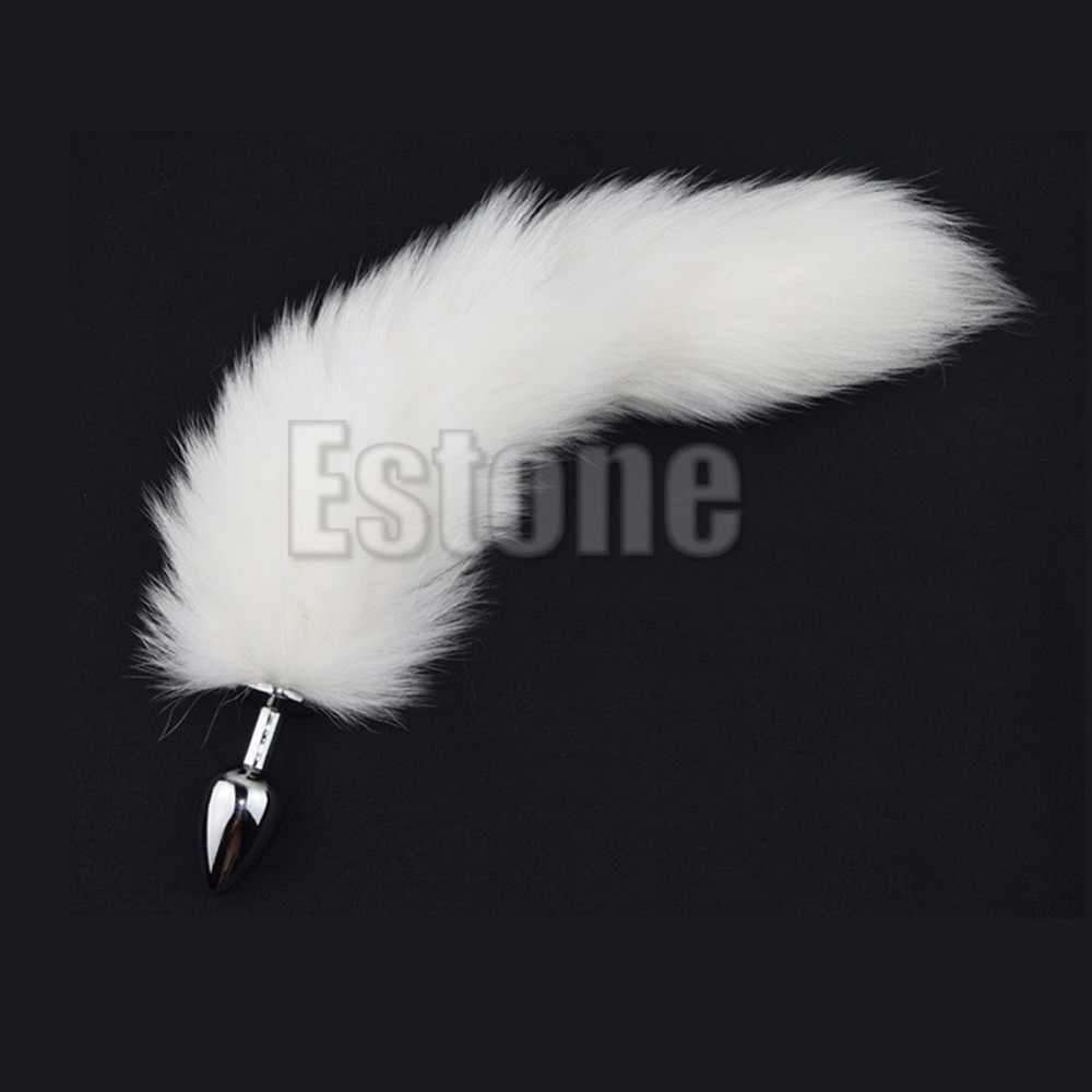 19ca74f3d73 Pure White Fox Tail Butt Metal Plug Anal Sex Toy Animal RolePlay Cosplay  with Real Racoon