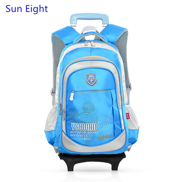 a8a5bf57beff Sun Eight blue detachable trolley school bag kids backpack with wheels  schoolbag girls school bags for teenagers student boy bag