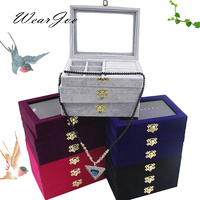 3 Styles Jewelry Set Storage And Packaging Gift Wooden Box With Lock Cover Ring Earring Pendant