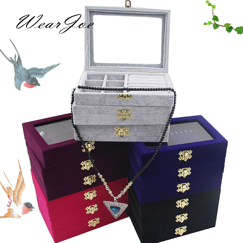 3 Styles Jewelry Set Storage And Packaging Gift Wooden Box With Lock Cover Ring Earring Pendant Necklace Velvet Display Showcase 42 pcs set creative letters and numbers stamp gift box wooden stamp wooden box decorative diy funny work 3 styles