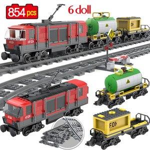 Image 1 - 854PCS รถไฟสินค้ารถไฟ Intercity Passenge Building Blocks City รถไฟตัวเลขตำรวจอิฐของเล่นสำหรับของขวัญเด็ก