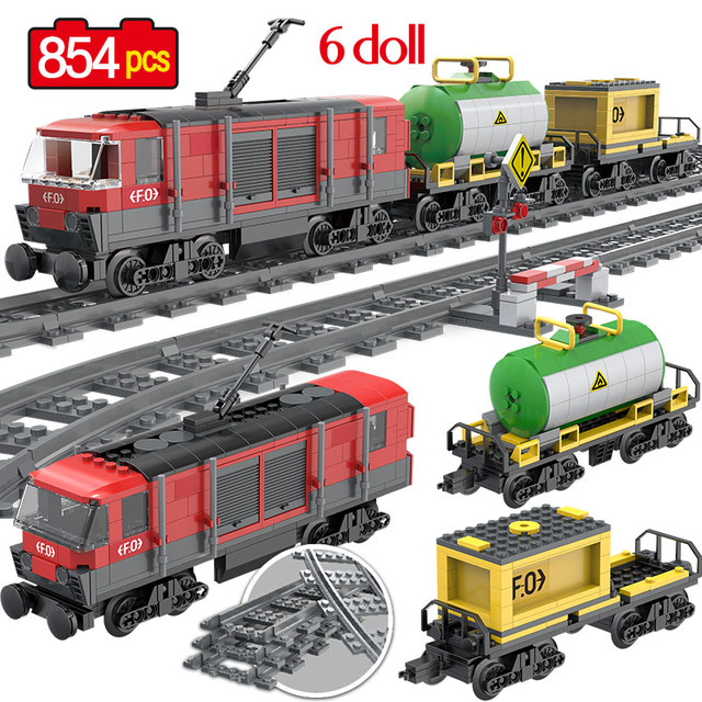 854PCS รถไฟสินค้ารถไฟ Intercity Passenge Building Blocks City รถไฟตัวเลขตำรวจอิฐของเล่นสำหรับของขวัญเด็ก