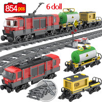 854PCS Railway Goods Train Locomotive Intercity Passenge Building Blocks Compatible legoingly City Train Bricks Toys for Kids