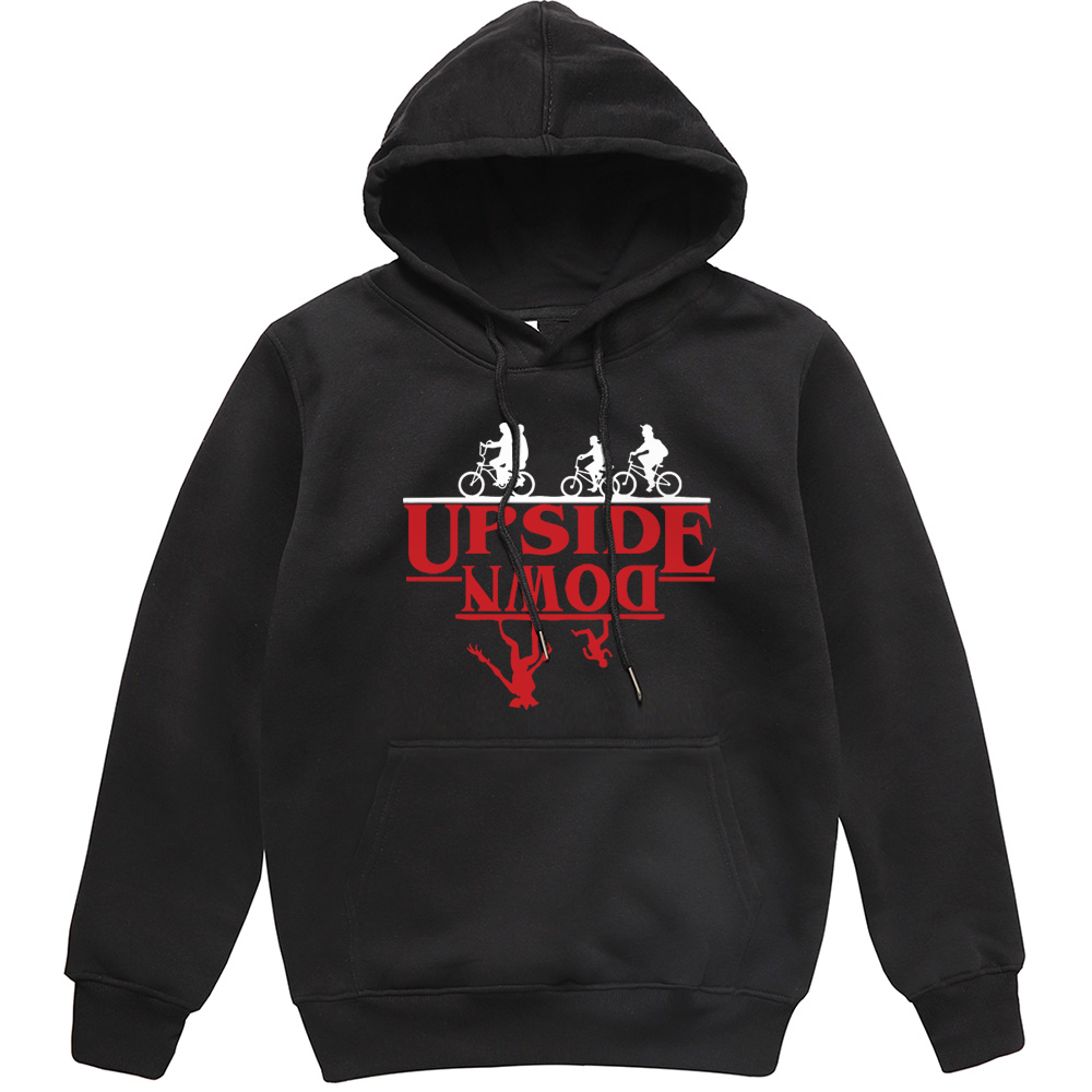 UPSIDE DOWN Creative Funny Printed Men Hoodies 2019 Autumn Winter Fleece Sweatshirt Stranger Things Hip Hop Streetwear Men Hoody