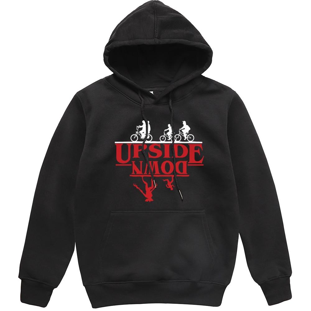UPSIDE DOWN Creative Funny Printed Men Hoodies 2019 Autumn Winter Fleece Sweatshirt Stranger Things Hip Hop Streetwear Men Hoody