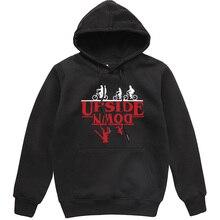 UPSIDE DOWN Creative Funny Printed Men Hoodies 2019 Autumn Winter Fleece Sweatshirt Stranger Things Hip Hop Streetwear Hoody