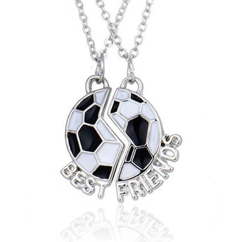 Football Pendant Necklace Best Friends Jewelry Friendship Memorial Cloth Accessories