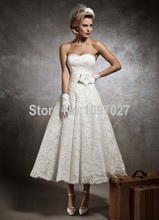 2015 Summer Style Sweetheart Short Wedding Dress Lace Off The Shoulder Ankle length Bridal Gown Free