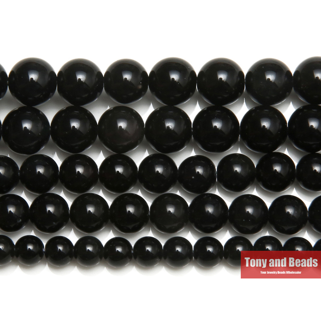 """Free Shipping Natural Stone Black Obsidian Round Loose Beads 15"""" Strand 4 6 8 10"""