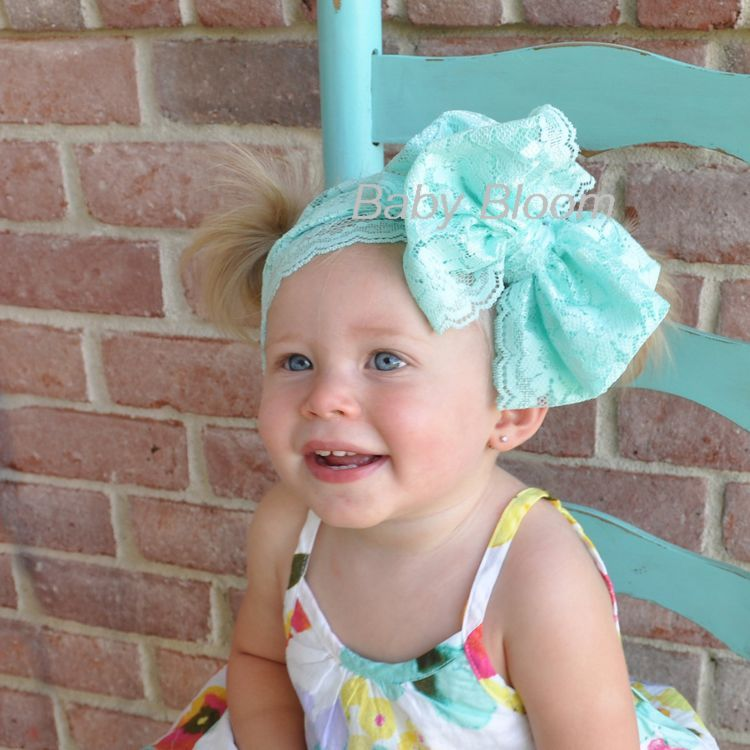 Baby Lace Messy Bow Headband -Infant Stretchy Elastic Lace Bow Headwrap Hair Accessory