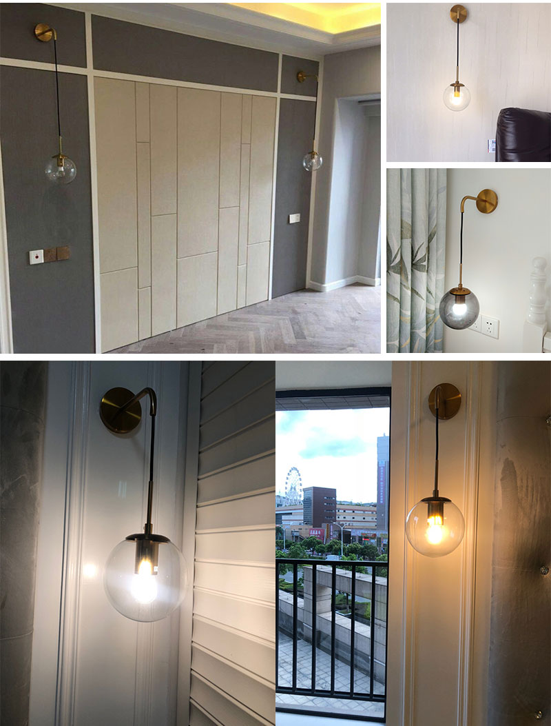 Nordic Post Modern LED Wall Lamp Creative Glass Ball Mirror Bedside Wall Lamps Vintage Wall Light For Living Room Heme Deco (12)