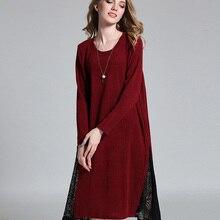 6b5eeac358a 4xl women casaul dress autumn 2017 new european woman russia big size loose  lace patchwork fashion