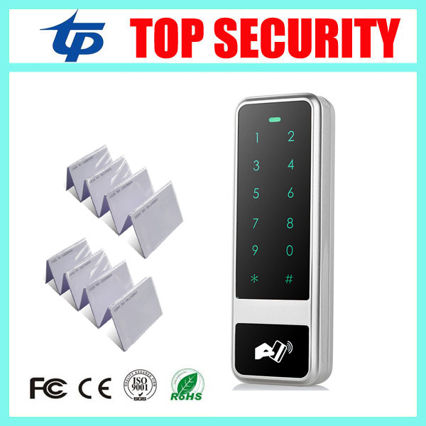 New arrival 8000 users smart card access control good quality touch surface waterproof weigand RFID card access control reader outdoor mf 13 56mhz weigand 26 door access control rfid card reader with two led lights