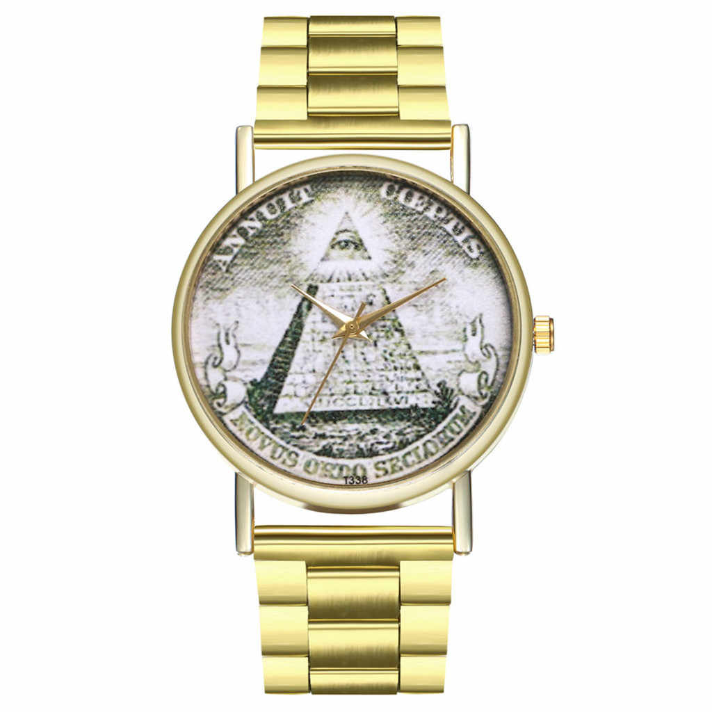Vintage Pyramid Printed Ladies Watch Round Steel Belt Watch Quartz Geneva Quartz Wristwatches Clock Sale New Fashion 2019